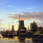 Charles Henri Joseph Leickert - Mills at the Schie at dusk