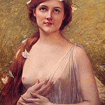 Young Woman with Morning Glories in Her Hair, Jules-Joseph Lefebvre
