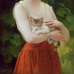 Charles Zacharie Landelle - Country Girl and her Kitten