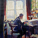 The poet Caesar Flaischlen at the desk
