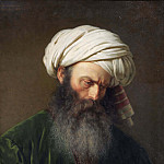 Turkhufvud. Study of a Man in Turkish Dress, Amalia Lindegren