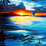 Christian Riese Lassen - kb Lassen Greeting Cards Dawn of the Dolphin