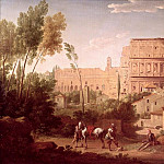 Hendrik van Lint - A View of the Colosseum with a Traveller