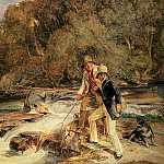 John Frederick Lewis - Landseer and Lewis Fishing