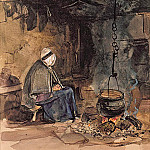 John Frederick Lewis - Watching the pot boil - a cottage interior