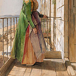 John Frederick Lewis - A Greek Girl Standing on a Balcony