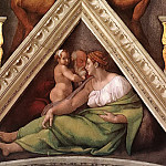 Hezekiah with his mother and his father Ahaz, Michelangelo Buonarroti