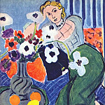 Henri Matisse - anemones and woman harmony in blue