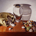 Linda Mann - Still life with Glass Vase and Stones