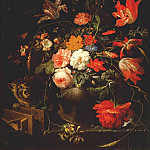 Abraham Mignon - still life with flowers cat and mousetrap c1670-80