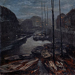 Friedrich Loos - Moonlight over Friedrichsgracht in the old Berlin