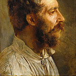 Louis Gallait - Bearded men head in profile