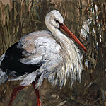 Adolph von Menzel - Stork in the Reeds
