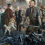 Franz von Lenbach - Visit at the Iron-rolling Mill