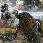Adolph von Menzel - White Peacock amongst Turkeys and Chickens
