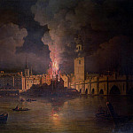 William Marlow - The Waterworks at London Bridge on Fire in 1779