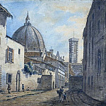 William Marlow - A Street in Florence with the Duomo and Campanile in the Background