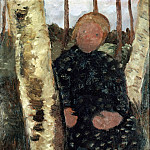 Wilhelm Trubner - Girl between the Birch Trees