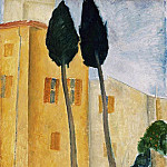 Amedeo Modigliani - Modigliani Cypress Trees and Houses, Barnes foundation
