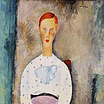 Amedeo Modigliani - Modigliani Girl with Polka-Dot Blouse, 1919, Barnes foundati