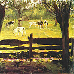 Piet Mondrian - calves in a field bordered by willow trees c1904