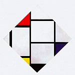 Piet Mondrian - lozenge composition red gray blue yellow black