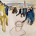 Edvard Munch - Workers returning home Watercolor after 1916 Kommunes