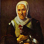 Bartolome Esteban Murillo - Old Woman with a Hen