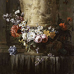 Marble Vase with Garland of Flowers