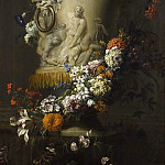 Jean-Baptiste Monnoyer - Marble Vase with Garland of Flowers