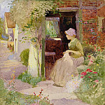 Thomas Mackay - A Girl Sewing at the Door of a Cottage
