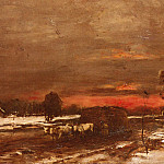 Michel (Mihaly) Lieb Munkacsy - A Winter Landscape At Sunset