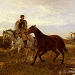 Michel (Mihaly) Lieb Munkacsy - Lieb Leading The Horses Home At Sunset