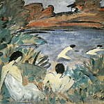 Max Slevogt - Summer day (Pond with Bathers)