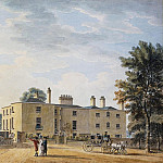 Thomas Malton Jnr. - Figures Outside an Elegant Country House