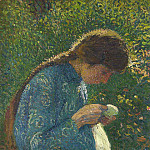 Henri-Jean-Guillaume Martin - A Young Woman Sewing