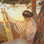 Henri-Jean-Guillaume Martin - Lady with Lyre by Pine Trees 1890