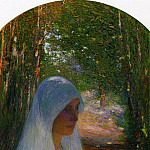 Henri-Jean-Guillaume Martin - Young Woman Veiled in White in a Forest 1895 1900