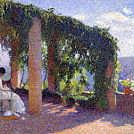 Henri-Jean-Guillaume Martin - Woman Sewing on a Veranda