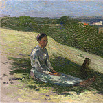 Henri-Jean-Guillaume Martin - Young Peasant Girl and Her Dog