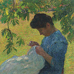 Henri-Jean-Guillaume Martin - Young Woman Sewing in the Garden