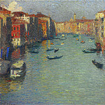 Henri-Jean-Guillaume Martin - Gondolas on the Grand Canal in Venice