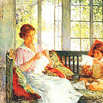 Willard Leroy Metcalf - my wife and daughter c1917-18