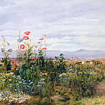 Eugene-Louis Lami - Wildflowers with a View of Dublin Dunleary