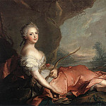 Portrait of Maria Adelaide of France, daughter of Louis XV dressed as Diana, De Schryver Louis Marie