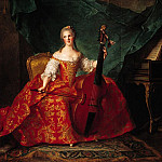 Jean Marc Nattier - Madame Henriette de France (1727-52) in Court Costume Playing a Bass Viol