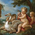 PUTTI ADORNING A SWAN WITH A GARLAND OF FLOWERS, Charles-Joseph Natoire