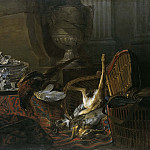 Still Life with Dead Game and a Silver Tureen on a Turkish Carpet
