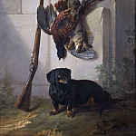 The Dachshound Pehr with Dead Game and Rifle