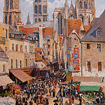 Camille Pissarro - The Old Market and the Rue de lEpicerie in Rouen